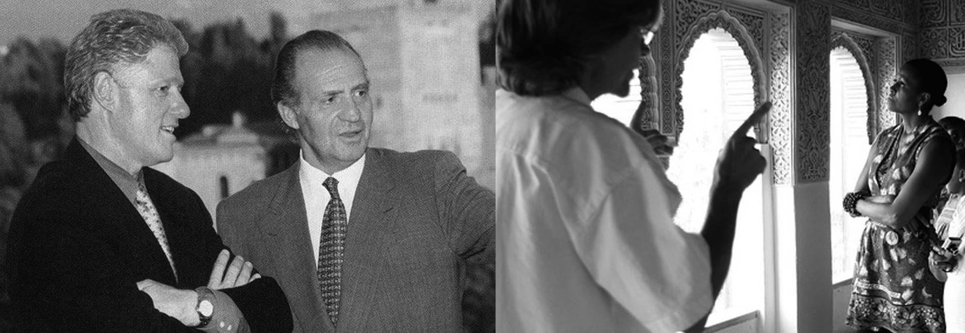 Famosos en Granada: Clinton y el Rey Juan Carlos / Sñora. Obama en La Alhambra
